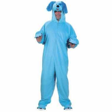 Dieren kostuum blauwe hond voor volwassenen