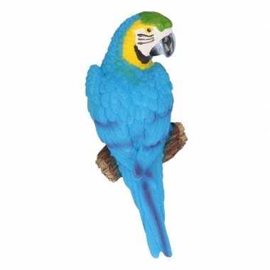 Dierenbeeld blauwe ara papegaai vogel 16 cm trend