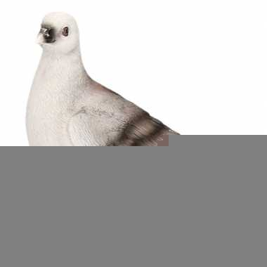 Dierenbeeld duif grijs 20 cm