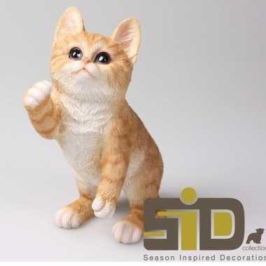 Dierenbeeld kat/poes rood 20 cm