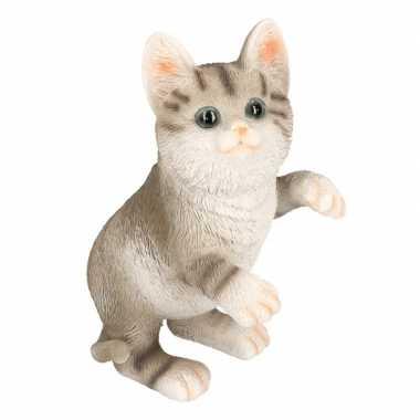 Dierenbeeld kat/poes tabby grijs 20 cm