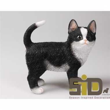 Dierenbeeld kat/poes zwart/wit staand 20 cm