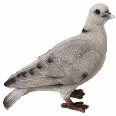 Dierenbeeld wit/grijze duif 19 cm