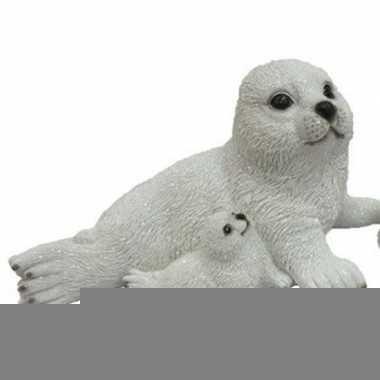 Dierenbeeld zeehond met jong naast moeder 27 cm