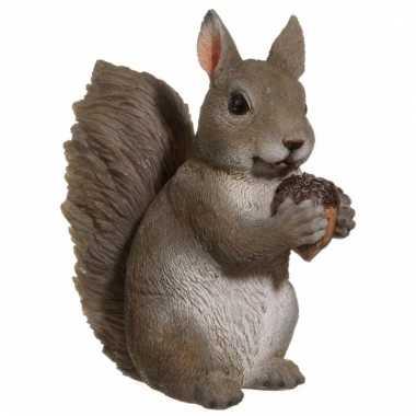 Dierenbeeldje grijze eekhoorn 15 cm trend