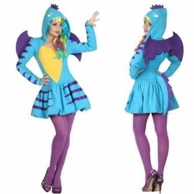 Dierenpak blauwe draak verkleed kostuum/jurk voor dames