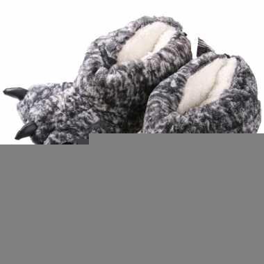 Dierenpoot sloffen grijs monsterpoten