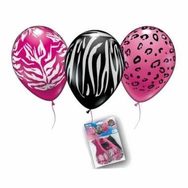 Dierenprint ballonnen 6 stuks