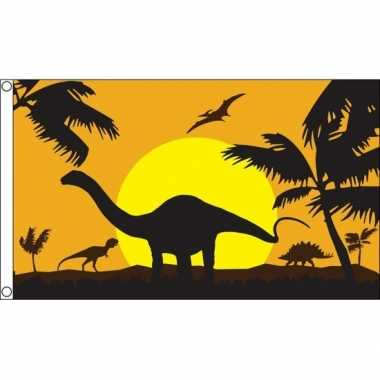 Dinosauriers/dino thema vlag 90 x 150 cm