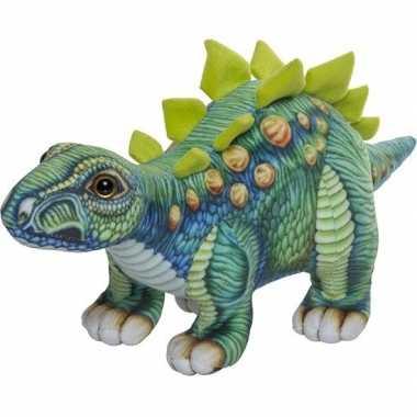 Dinosaurus speelgoed artikelen stegosaurus knuffelbeest gekleurd 30 c