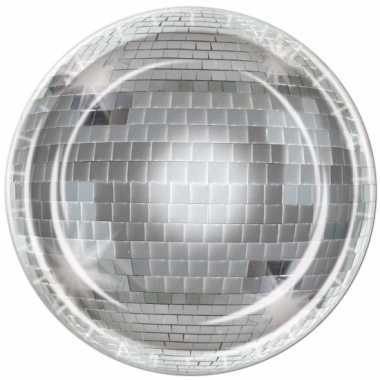 Disco bal wegwerp bordjes 8 stuks
