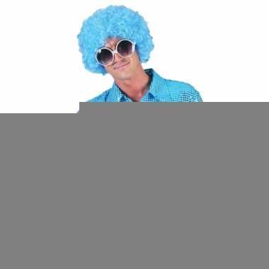 Disco pailletten blouse blauw voor heren