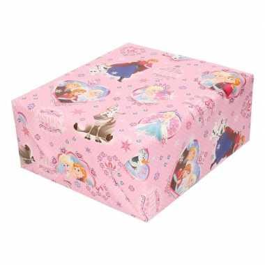 Disney inpakpapier frozen roze sneeuwvlokken 200 x 70 cm op rol