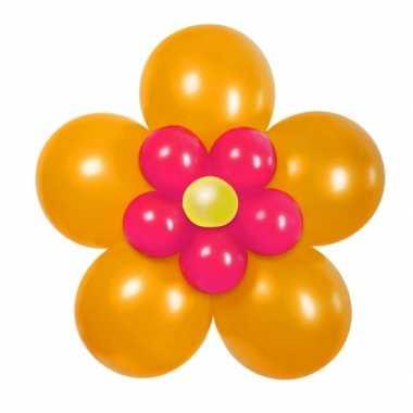Doe het zelf ballon set bloem oranje/roze
