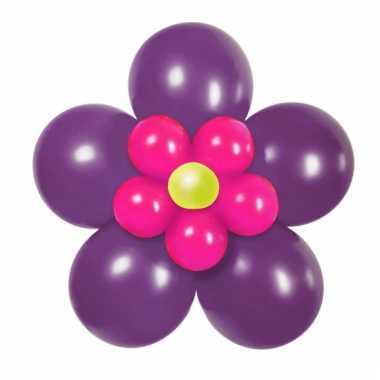 Doe het zelf ballon set bloem paars/roze