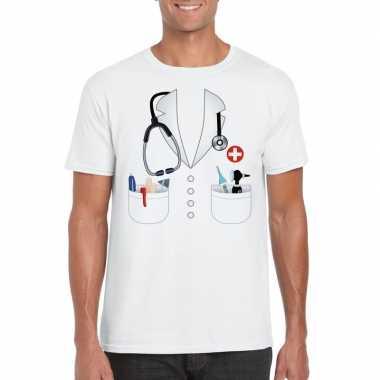 Doktersjas kostuum t-shirt wit voor heren