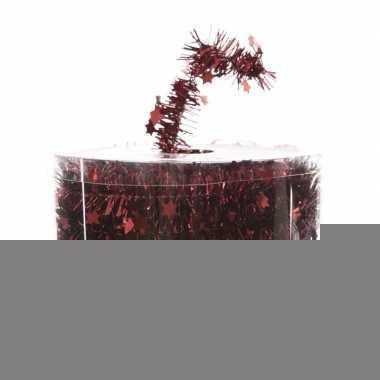 Donker rode kerstversiering folie slinger met ster 700 cm