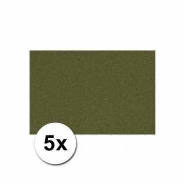 Donkergroen knutselpapier a4 formaat 5 stuks
