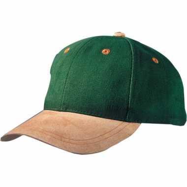 Donkergroene 6-panel cap met suede look