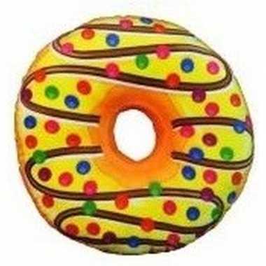 Donut kussen sprinkels geel 38 cm