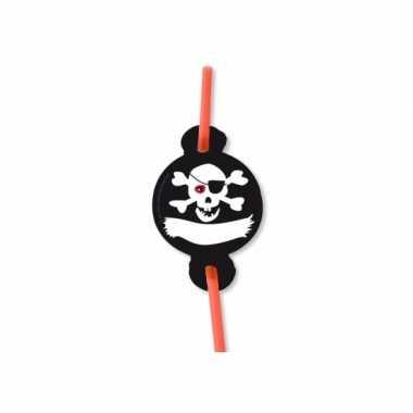 Doodshoofd print rietjes piraat 8 stuks