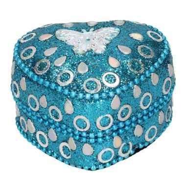 Doosje voor melktanden vlinder blauw 6 cm