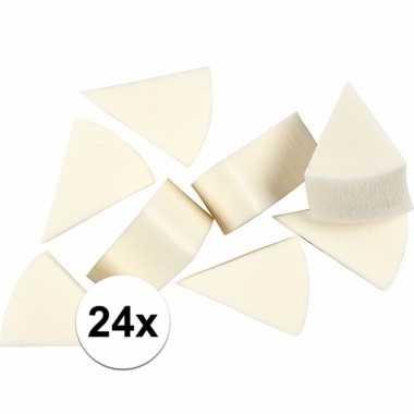 Driehoekige witte sponsjes 24 stuks