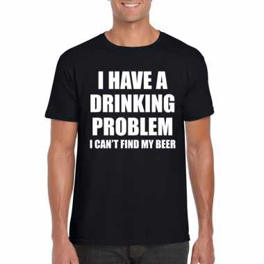 Drinking problem tekst t-shirt zwart heren