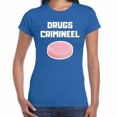 Drugs crimineel verkleed t-shirt blauw voor dames