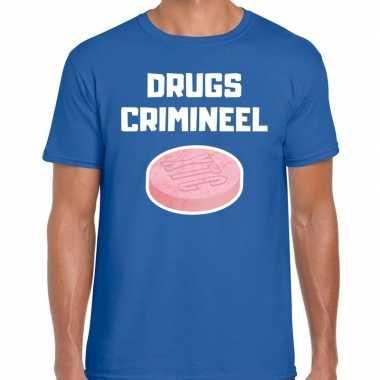 Drugs crimineel verkleed t-shirt blauw voor heren