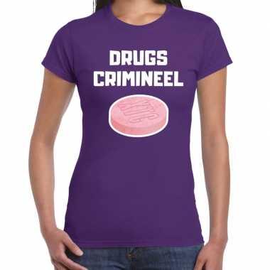Drugs crimineel verkleed t-shirt paars voor dames