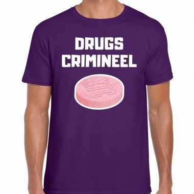 Drugs crimineel verkleed t-shirt paars voor heren