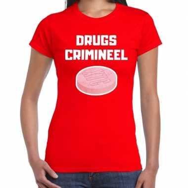 Drugs crimineel verkleed t-shirt rood voor dames
