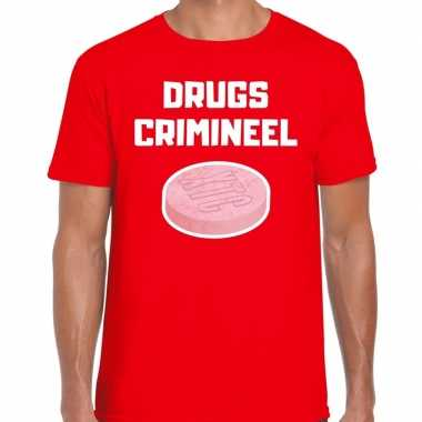 Drugs crimineel verkleed t-shirt rood voor heren