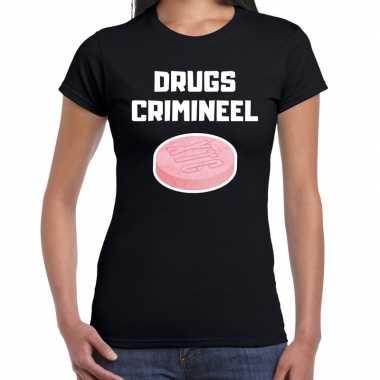 Drugs crimineel verkleed t-shirt zwart voor dames