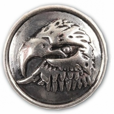 Drukknoop met een arend zilver 1,8 cm