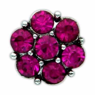 Drukknoop roze steentjes voor chunk sieraad 1,8 cm