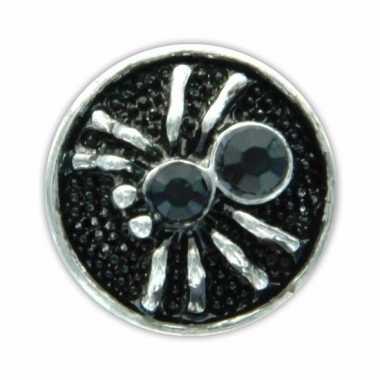 Drukknoop zwart spinnetje voor chunk sieraad 1,8 cm