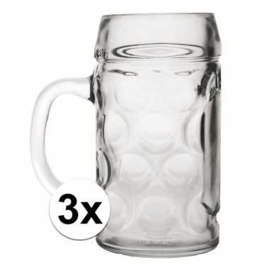Duitse bierpullen 1 liter 3 stuks