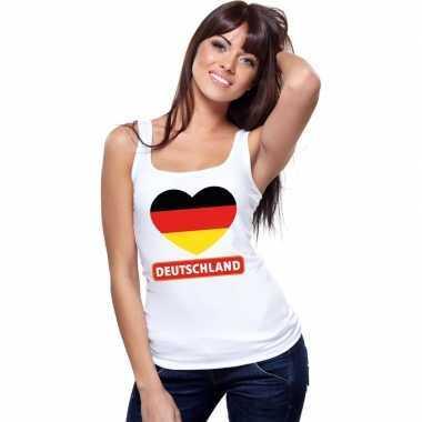 Duitsland hart vlag singlet shirt/ tanktop wit dames
