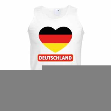 Duitsland hart vlag singlet shirt/ tanktop wit heren