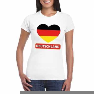Duitsland hart vlag t-shirt wit dames