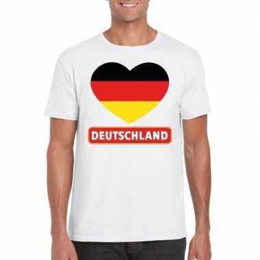 Duitsland hart vlag t-shirt wit heren