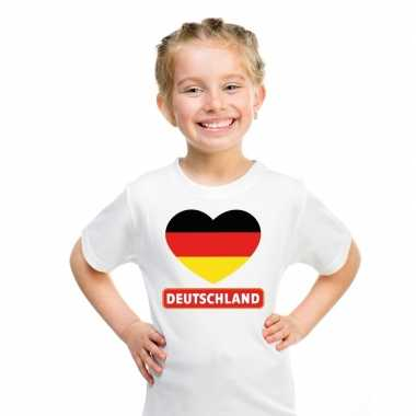 Duitsland hart vlag t-shirt wit jongens en meisjes