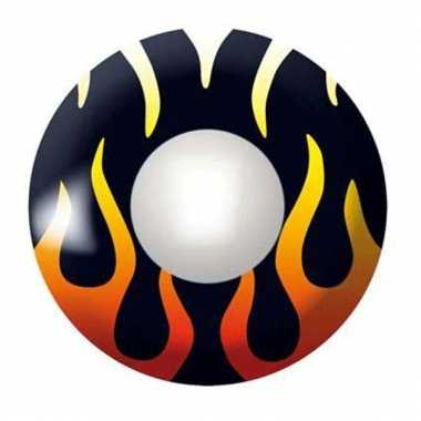 Duivelse feestlenzen zwart met vlammen