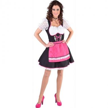 Edelweiss jurkje zwart/wit met roze schort voor dames