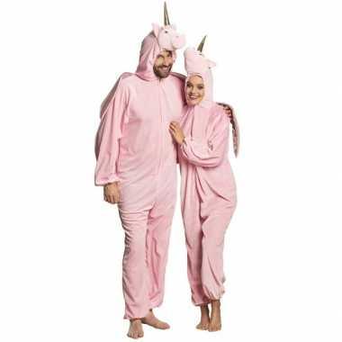 Eenhoorn dieren onesie/kostuum voor volwassenen roze