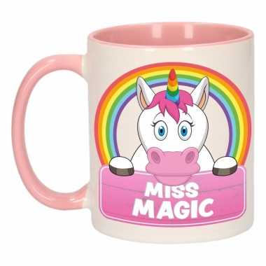 Eenhoorn theebeker roze / wit miss magic 300 ml