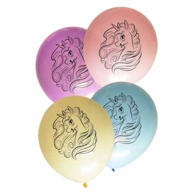Eenhoorn themafeest ballonnen pastel 8 stuks