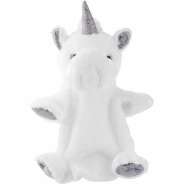 Eenhoorns speelgoed artikelen eenhoorn handpop knuffelbeest wit/zilve
